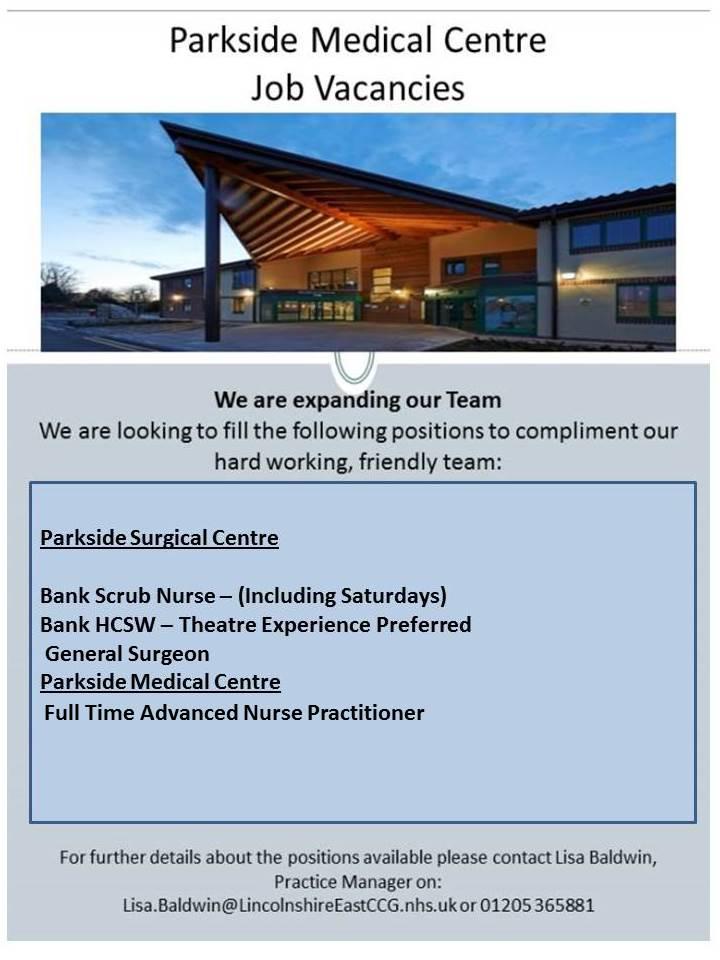 Parkside Medical Centre, Boston - Current Job Vacancies
