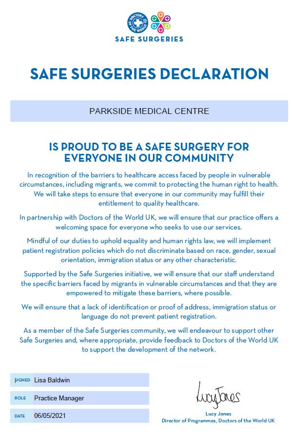 Safe Surgeries Declaration text below